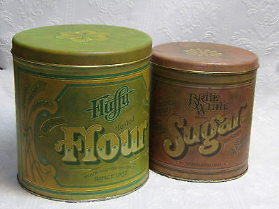 Set/2-Vintage 70's Ballonoff Metal Canister/Tins-Fluffy Flour,Nature's Sugar