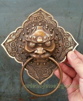 """Chinese Collectibles Bronze Foo Dog Lion square Door Knocker 6""""High"""