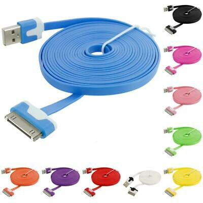 10 FT Noodle Flat USB Sync Data Cable Cord 3M for iPhone 4 4S 3GS iPod