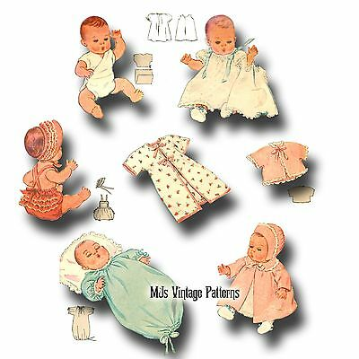 "Vtg 40s Pattern for Dy Dee Baby Doll Clothes ~ 11"" 12"" Sunsuit, Diaper, Sleeper"