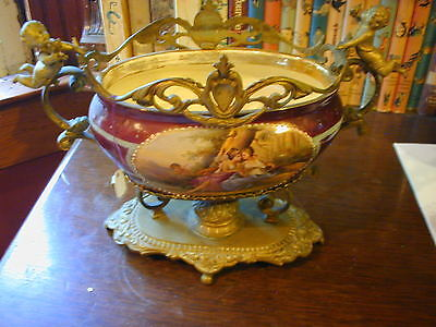Antique French Hand Painted Porcelain & Gilt Bronze Urn CHERUBS OUTSTANDING
