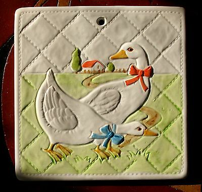 Vintage Art Pottery Otagiri Quilted Tile Trivet Ducks Geese Japan Hand Crafted