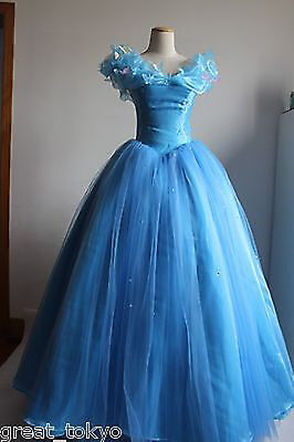 Adult Women's Sandy Princess Cinderella  Blue Dress Cosplay Costume Cos