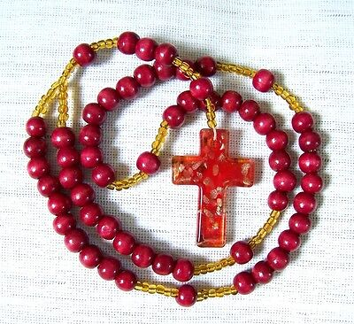"""Dark Red Wooden & Glass Beads Rosary Necklace 25"""" with  Murano Glass Cross NEW"""