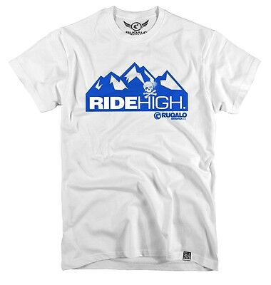 "Tshirt Ruqalo Snowboard ""ride High"" Ideal For Snowboard And Ski Riders Ts402Whi"
