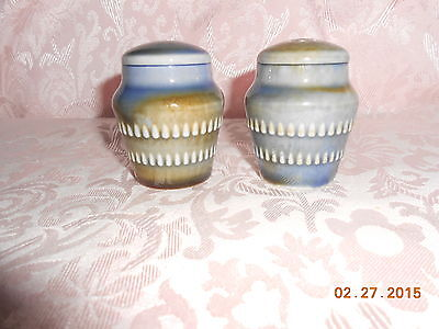 WADE PORCELINE, SALT & PEPPER SHAKERS, WASHED IN BLUES AND GREENS