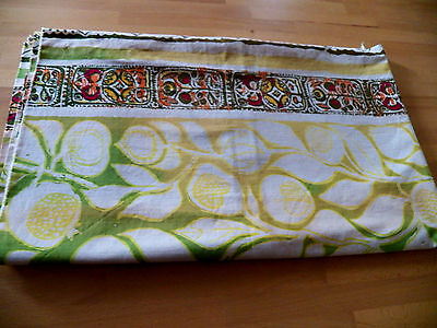 """VIntage MidCentury Fabric-Floral Design-great cond.44""""x53""""-Gold,Green,Earthtones"""