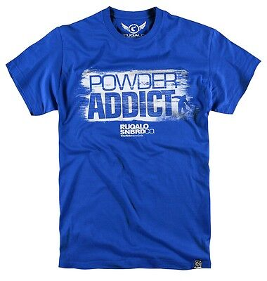 "Tshirt Ruqalo Snowboard ""powder Addict The Ride Never Ends"" Ts407Rbl"