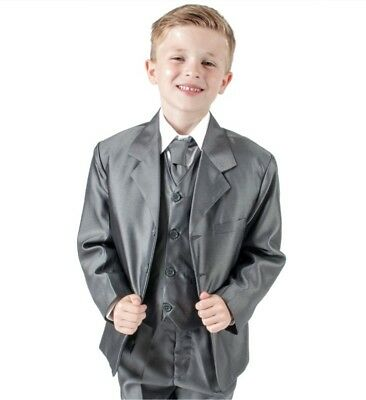 Boys Suits 5 Piece Grey Suit Wedding Page Boy Formal Party Shiny (0-3 - 14 yrs)
