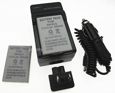 Battery (2) +Charger for Nikon Coolpix S10 P3 P4 P80 P90 P100 Digital Camera