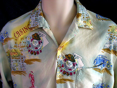 Bahama Cruise Xl Button Up Shirt Casino Roullete 1940's Playing Cards Gambling