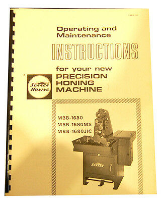 Sunnen MBB-1680 & MBB-1680MS and JIC Instructions and Maintenance Manual