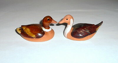 2 Painted Clay Vtg 50s-60s Mallard DUCK  DECOY Figurine LOT~ NAPCO Pottery JAPAN