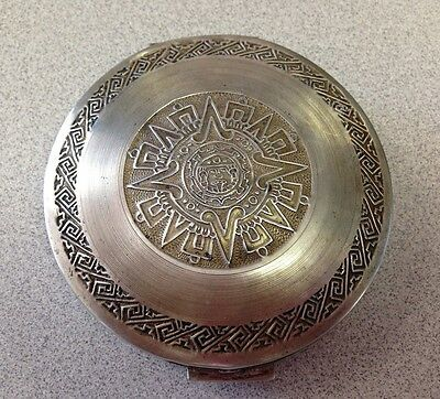 Vintage 925 Sterling Silver Aztec Mayan Calendar Powder Compact - Never Used