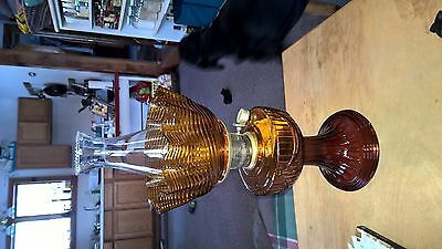 Aladdin 21c amber glass oil lamp with shade.