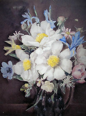 Marion Broom - Best Bouquet -  Listed Artist Watercolor - C. 1920 - No Reserve