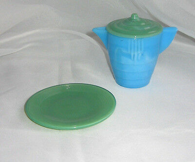 Vintage Lot Sky Blue Glass AKRO AGATE Concentric Rib Child's Dishes Teapot Lid