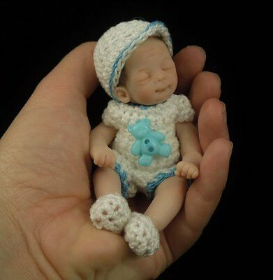 """WILLY"" mini 4.75"" polymer clay art baby doll sculpt OOAK by URSULA"