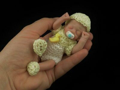 """WEE"" mini 4.75"" polymer clay art baby doll sculpt OOAK by URSULA"