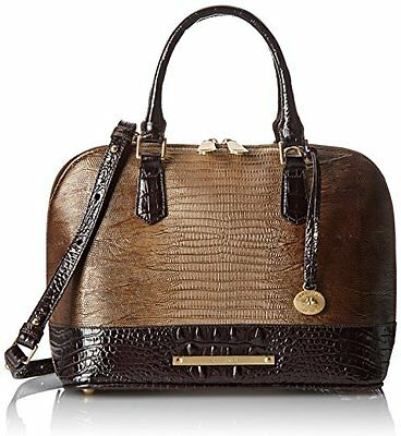 ❤️BRAHMIN VIVIAN + WALLET SABLE PENNFIELD BROWN DOME SATCHEL CROC EMB LEATHER❤️