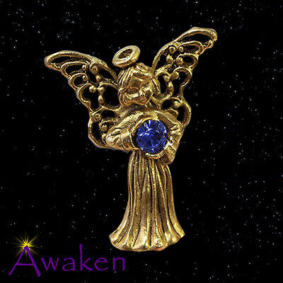 GUARDIAN ANGEL LAPEL PIN 14ct Gold Plated w/ Blue Stone 27 x 25mm MADE IN USA