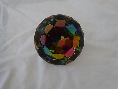 """Large 3 1/4"""" Irredescent DIAMOND SHPAED Glass CRYSTAL Paperweight GUC"""