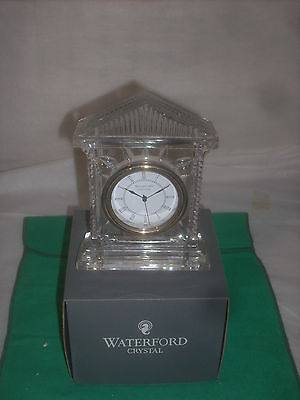 "Waterford Acropolis fine hand cut crystal clock 6 1/2""tall 4 3/4""wide new"