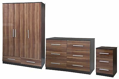 New Lotus Super High Quality Walnut Gloss Black Large Modular Bedroom Furniture