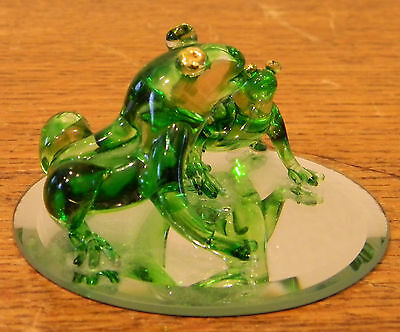 2 Adorable Green Glass Frogs on Mirror