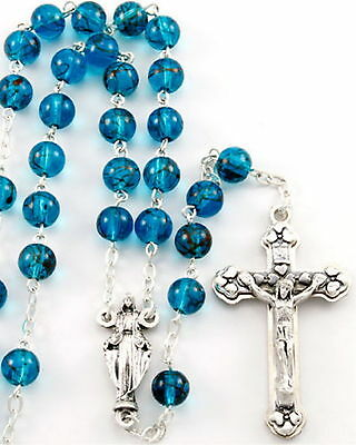 NEW MADE IN ITALY OUR LADY OF MIRACLES BEAUTIFUL BLUE GLASS BEAD ITALIAN ROSARY