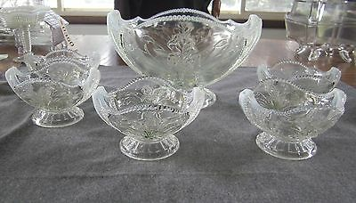 "Eapg Northwood Opalescent Wild Bouquet ""Iris"" Master Berry Bowl Set 6 Pieces"