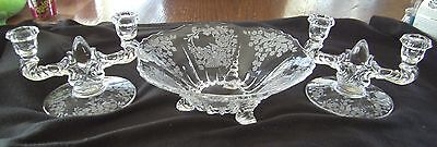 New Martinsville Flower Basket Etch Footed Bowl Double Candlestick Console Set