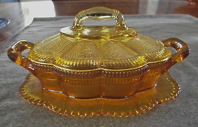 Eapg Bryce Brothers Amber Lorne Covered Butter Dish With Attached Underplate