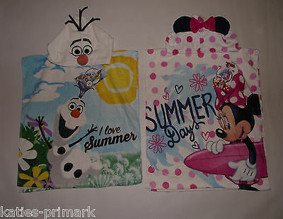 PRIMARK DISNEY FROZEN OLAF or MINNIE HOODED TOWEL PONCHO BEACH POOL NEW ONE SIZE