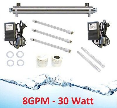 Whole House Ultraviolet Filter UV Water Sterilizer Purifier 8 GPM +Super Package