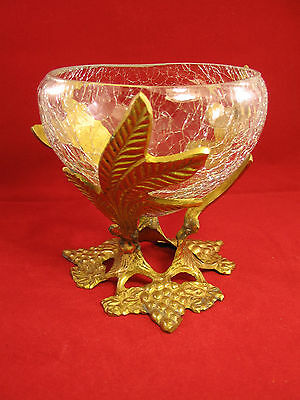 VNTG Crackle Glass Bowl Vase Candle Stick Brass Stand Grape Vine Shaped India