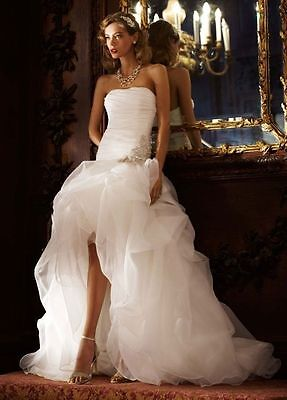 White/Ivory Bridal Gown High Low 2015 Wedding Dress Custom Size 6 8 10 12 14 16+