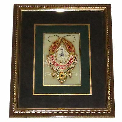FABULOUS MARBLE JEWLLERY PAINTING WITH REAL GOLD WORK IN BEAUTIFUL WOOD FRAME