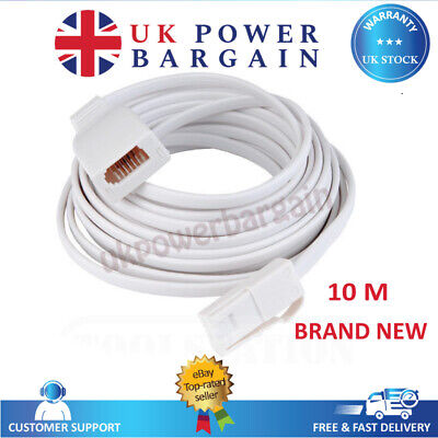 10 Meter BT Telephone Extension Cable Lead Phone Fax Modem Socket 10M Long
