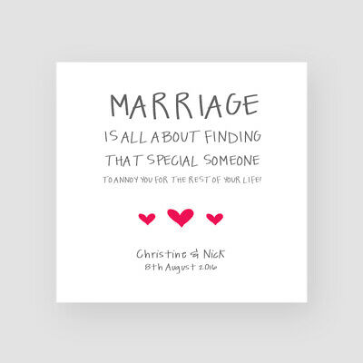 Personalised Handmade Funny Marriage Card - Bride/Groom,Wedding Day, Anniversary