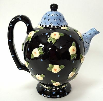 Mary Engelbreit Charpente Black Blue Yellow Floral Teapot ME INK 1997