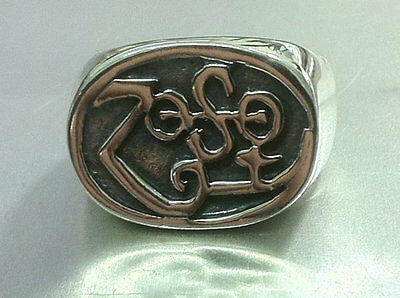 Led Zeppelin Zoso Jimmy Page Les Paul Sg Ring Solid Sterling Silver 925