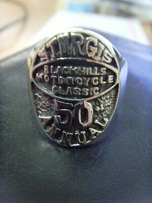 SOILD SILVER STERLING 925 Mens Vintage rider Sturgis 50th Annual Ring 11.5
