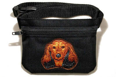 Embroidered Dog treat pouch/bag. Breed - Dachshund Longhaired