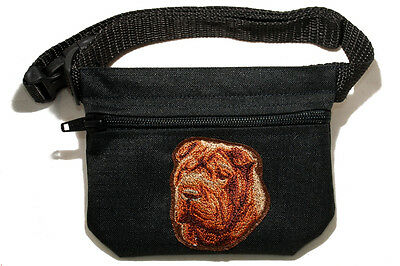 Embroidered Dog treat pouch/bag. Breed - Shar-Pei