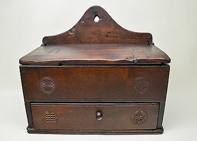Antique Folk Art Walnut Hanging Spice Box with Hand Carved Designs  Early 1800's