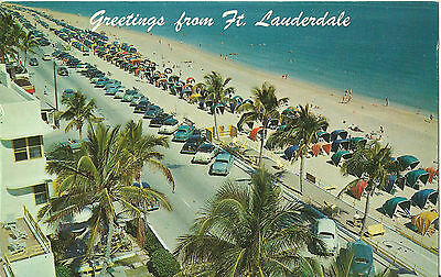 Greetings From FT. Lauderdale - Beach 1950s Cars - Florida