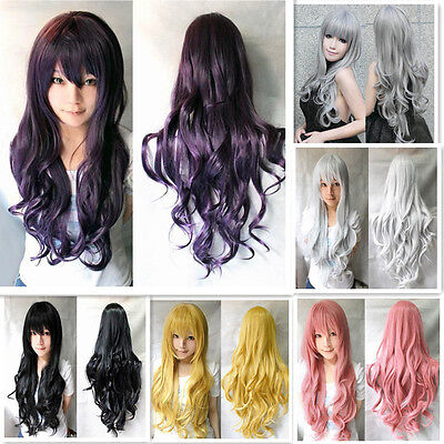 5 Colors Long Curly Cosplay Wigs Women's Girl Party Hair Full Wig US SHIP