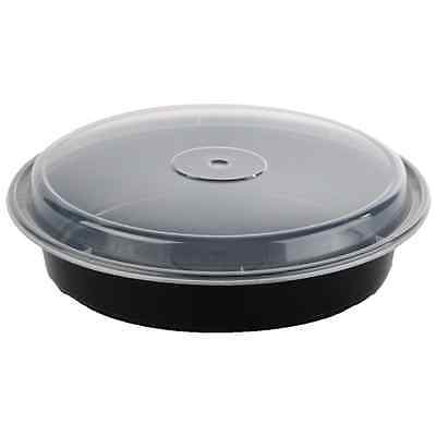"48 oz 9"" Black Round Microwavable Plastic Container with Lid - 50ct"