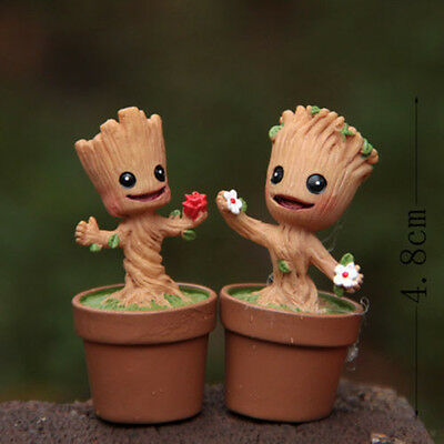 2 PCS Guardians of the Galaxy GROOT Have Flowerpot Figures Decoration New